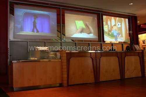 projection screen, double sided projection screen, projection film, film screen